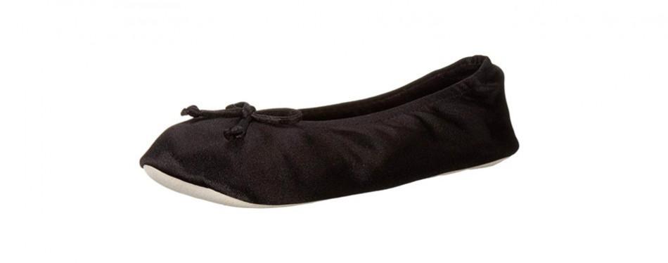 isotoner women's satin ballerina slipper