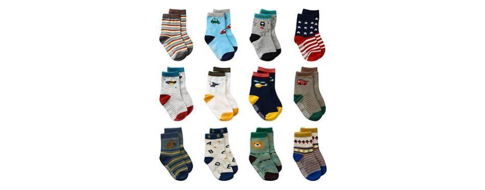 laisor 12 pack of non-skid boy's ankle socks