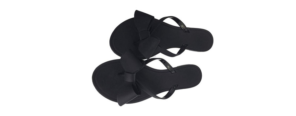 mtzyoa women stud bow flip-flops sandal