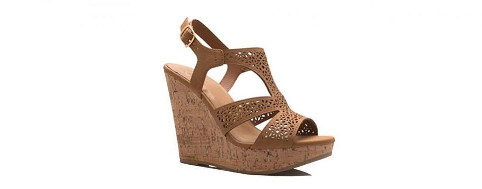 olivia k women's open toe strappy high wedge sandal