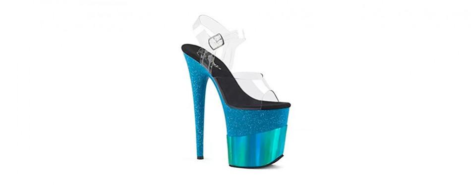 pleaser women's flamingo-808-2hgm ankle-strap sandal