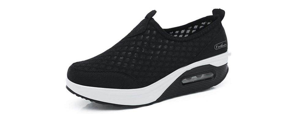 scurtain women's slip-on mesh walking shoes