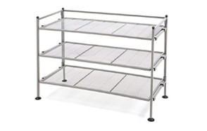 seville classics 3-tier iron mesh utility shoe rack