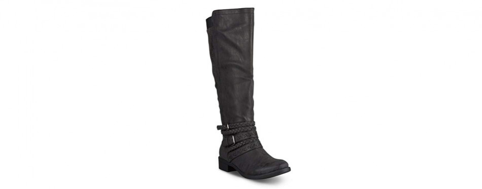 twisted women's chloe faux leather knee high boot