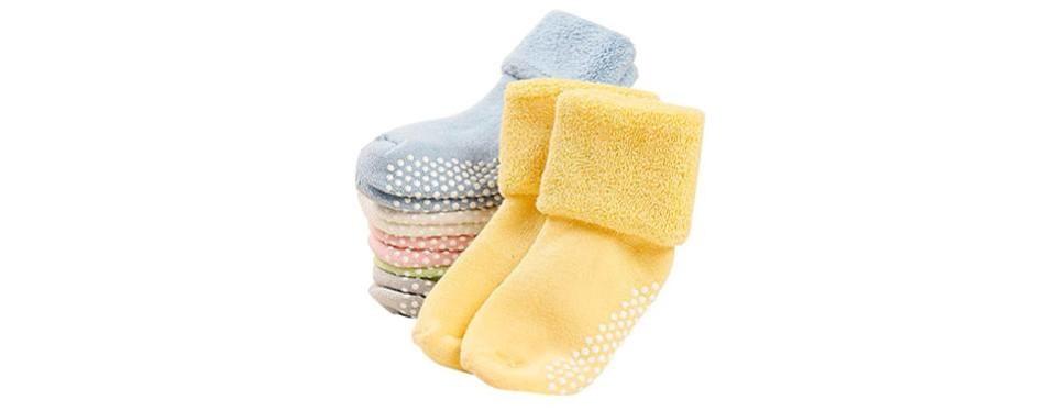 vwu 6 pack baby socks with anti slip grips